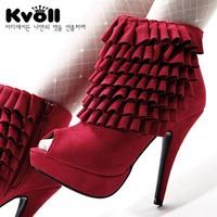 Free shipping Fashion kvoll autumn high-heeled shoes 14cm platform open toe velvet laciness single shoes fashion ladies pumps
