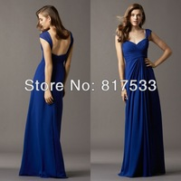 Blue Pleat Grecian-inspired Chiffon Gown With Straps Floor Length Long Bridesmaid Dresses