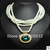 2014 Hot Sale Factory Sale Free Shipping Fashion Sapphire Pearl Necklace
