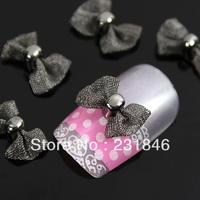30 pcs 9X12mm Fashion 3D Black Net Mesh Design Bow Tie Bowknot Nail Art Tips DIY Decoration Cell Phone UV Gel Decal Manicure