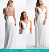2014 Column Sleeveless with Deep V-neck Chiffon Prom Dress