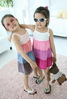 Free shipping son xuan sweetheart rainbow beach girls skirt with shoulder-straps of the girls A28