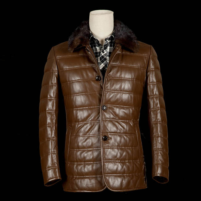 2013 New Arrival Men's Genuine Sheepskin Leather Jackets Outwear Coat With Huge Real Detachable Soft Silver Fox Fur Collar(China (Mainland))