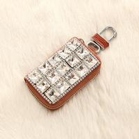 2014 fashion White big Rhinestone brown PU car key cases New Fashion leather Car Key Bag size 8*5*2cm