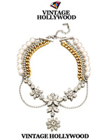 Free shipping 2013 christmas new Vintage hollywood crystal pearl chain ladies necklace