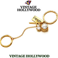 Free shipping 2013 christmas new Vintage hollywood gem pearl cross multi-element twinset ring