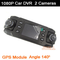 X8000 Car DVR Video Recorder with GPS logger and G-Sensor Double Cameras wide angle Dual Lens - Free shipping by china post