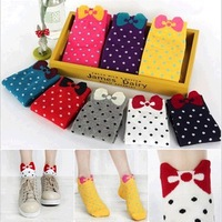12pairs/lot Multi Candy Color Women's Girl's Cute Sock three-dimensional Bow Polka Dot Ankle Socks
