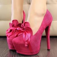 Free shipping Fashion sweet ultra thin heels high platform heels platform velvet ribbon bow single shoes princess pumps