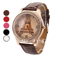 Freeshipping  Women's Eiffel Tower Pattern Gold Case PU Band Quartz Analog Wrist Watch