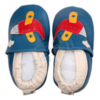 Sheepskin  Unisex  Baby Shoes  Plane  Blue  Size  XL  14.5cm