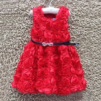 New Fashion Sweet Girls Kids 3D Red Rose Party Dress Summer Sleeveless A-line Children Princess Dress With Belt #KS0082