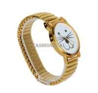 2014 New Beard Watch Listing Stainless Steel New Fashion Unique Gold Tiger Cat Watches Unisex Bracelet Dress Watch 19009