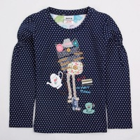 FREE SHIPPING 18m/6y  2013 New Nova baby girls cotton T-shirt lovely long sleeve t shirts autunm winter clothes with dots