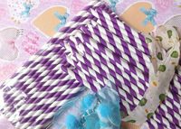 Free Shipping 25pcs Paper Straws,21# Bright Purple Striped Drinking Paper Straws Banquet Wedding Decoration