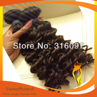 Deep curl Brazilian Virgin Hair weave 3piece a lot,Free Shipping --Sunny Natural