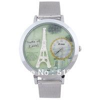 5 Pcs Women Round Dial Stainless Steel Mesh Quartz Wrist Watch On Sale