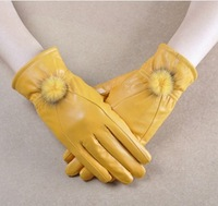 Women's high quality sheepskin Genuine Leather patchwork thermal gloves autumn and winter thick