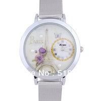 5   Pcs Fashion Women Round Dial Stainless Steel Mesh Quartz Wrist Watch Quartz Gift