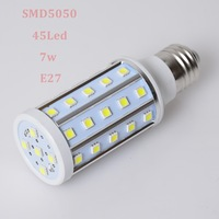 6Pcs/Lot E27 7W 45LED SMD5050 Led Corn Bulb 600LM AC85V-265V 2800-3200K/6000-7000K Warm White/Cool White Lamp+Free Ship