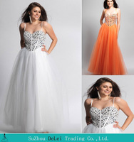 2014 Column Spaghetti Strap With Crystal Tulle Floor Length Prom Dress