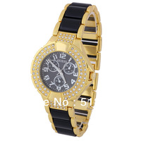 5  Pcs Womens Ladies Round Bracelet Watches Bling Crystal Plated Designer Style Watch