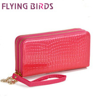 FLYING BIRDS! HOT SELLING pu leather Crocodile patent leather wallet double zipper clutch bag handbag LS1175