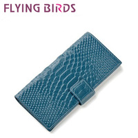 FLYING BIRDS! HOT SELLING Female models in Europe and America crocodile pattern leather wallet LS1176
