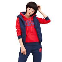 free shipping Sweatshirt piece set sweatshirt set sweatshirt female thickening fleece hooded casual set 1018
