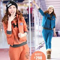 free shipping  women's thickening fleece sweatshirt set fashion sports casual piece set 5259