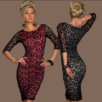 Long sleeve Lace vintage casual knee length bodycon dress dress european style women winter