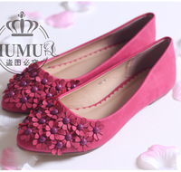 Free shipping 2013 women's spring and autumn sweet flower pointed toe flats plus size female single shoes