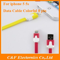 Multicolor Flat noodle Date cable For Apple iphone 5 5s 5C ipod touch 5 ipad 4 usb cables charging date transfer + Freeshipping