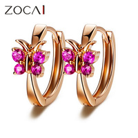 ZOCAI brand BUTTERFLY FLOWERS Genuine 18K rose gold 0.18 ct ruby hoop earrings sapphire available H00231