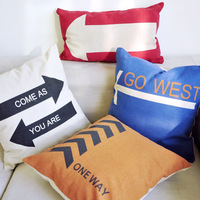 Free shipping New 2014 IKEA zakka Direction indicator signs series square cotton pillow cover/Cushion cover/home decoration