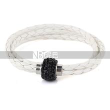 Wholesale Fashion Crystal Magnet  Buckle Leather Charm Love Bracelet For Women