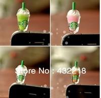 2014 3.5mm anti dust plug earphone plug Starbucks Coffee Cup Earphone Jack  Ear Cap Plug Anti-dust Stopper for iphone 4G 4S 5G
