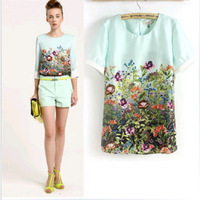 New!!!Fashion vintage women T-shirt chiffon casual Slimly shirt Blouses Flowers printed O-neck,Spring/Summer costume