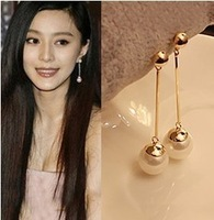 E478  Free Shipping Wholesales High Quality Fashion OL Temperament Long Section Of Pearl  Earrings