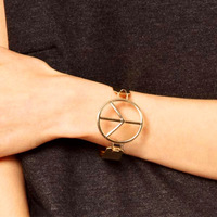 Free Shipping HQ Big Brand Fashion Gold/WhiteGold Peace Sign Trend All-match Channel Setting Bangles Exquisite Jewelry for Woman