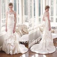 Elegant Gown Mermaid Style Scoop Neck Beadings Featured Satin Zipper Back with Buttons Bridal Gowns 2014