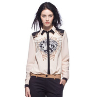 New Hot! Stylish Vintage Print Totem Pattern Blouses for Women Long Sleeve Turn down Collar Office Lady Shirts Tops  121115