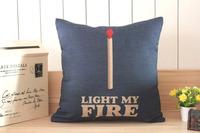 H419 Linen Cotton Light My Fire Blue Decorative Cushion Cover Sofa Pillow Case Throw Pillow Cover Home Decor Hot Gift
