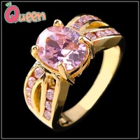 Sz8/10 Luxury Jewellery pink sapphire  Lady's 10KT yellow Gold Filled Ring