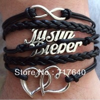 6pcs/Lot !!! New Justin Bieber Black And Pink Purple Braided Leather And Silver Plated Bracelet--Min order $10.0 ,Free Shipping