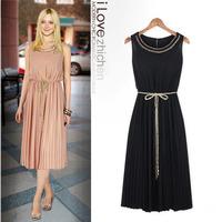 2013 summer fashion large women's ruffle sleeveless vest full dress chiffon one-piece dress
