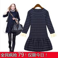 2013 autumn and winter fashion women's navy blue plaid patchwork slim elegant one-piece dress women's