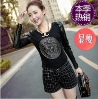 Vintage 2013 young girl gauze plus velvet basic shirt round neck T-shirt