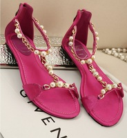 2014 newest arrived women girl sandals women string beal crysral Flats sandals for women Black/Beigh/red wholesale size 35-39