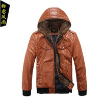 Jacket male jacket outerwear men's clothing short design jacket plus velvet with a hood slim leather jacket